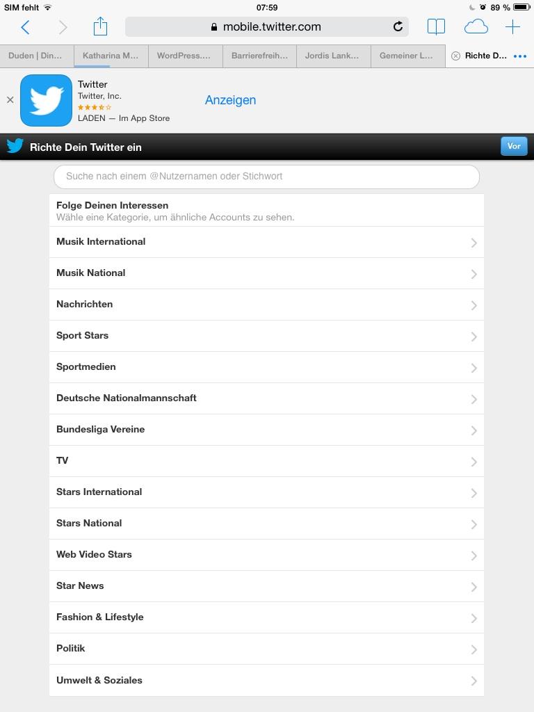 Twitter Auswahlfeld