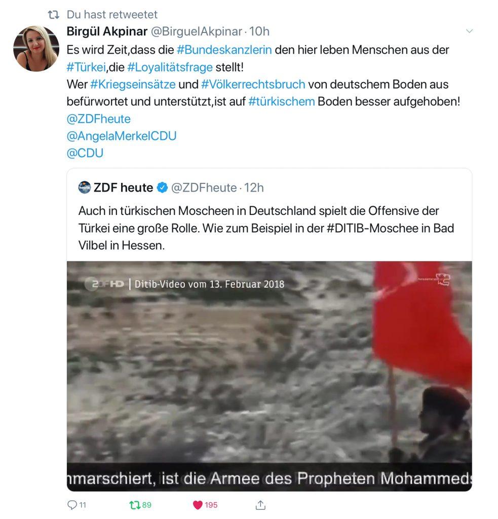 Birgül Akpinar: Es wird Zeit, dass die #Bundeskanzlerin den hier lebenden Menschen aus der #Türkei die #Loyalitätsfrage stellt! Wer #Kriegseinsätze und #Völkerrechtsbruch von deutschem Boden aus befürwortet und unterstützt, ist auf #türkischem Boden besser aufgehoben!