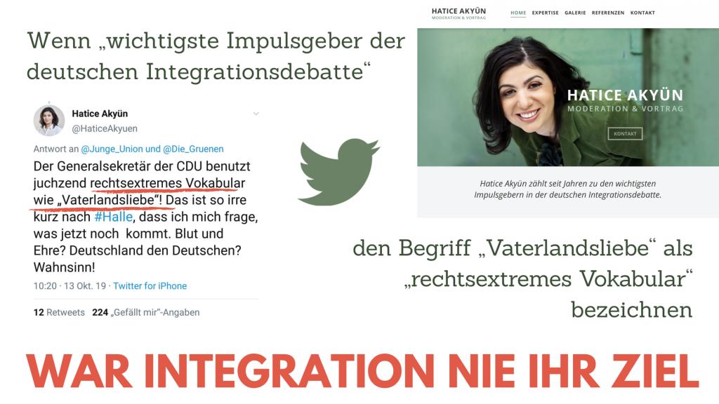 """Hatice Akyün: Der Generalsekretär der CDU benutzt juchzend rechtsextremes Vokabular wie """"Vaterlandsliebe""""! Das ist so irre kurz nach #Halle, dass ich mich frage, was jetzt noch kommt. Blut und Ehre? Deutschland den Deutschen? Wahnsinn!"""