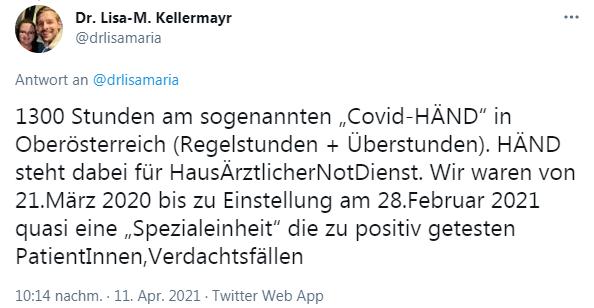 """1300 Stunden am sogenannten """"Covid-HÄND"""" in Oberösterreich (Regelstunden + Überstunden). HÄND steht dabei für HausÄrztlicherNotDienst. Wir waren von 21.März 2020 bis zu Einstellung am 28.Februar 2021 quasi eine """"Spezialeinheit"""" die zu positiv getesten PatientInnen,Verdachtsfällen"""