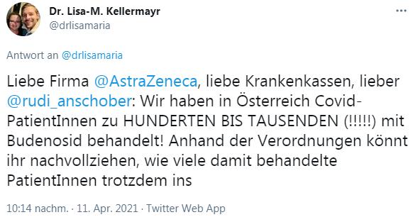 Liebe Firma  @AstraZeneca , liebe Krankenkassen, lieber  @rudi_anschober : Wir haben in Österreich Covid-PatientInnen zu HUNDERTEN BIS TAUSENDEN (!!!!!) mit Budenosid behandelt! Anhand der Verordnungen könnt ihr nachvollziehen, wie viele damit behandelte PatientInnen trotzdem ins